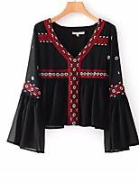 preiswerte -Damen Einfarbig Freizeit Alltag T-shirt,V-Ausschnitt Frühling Herbst Langärmelige Polyester