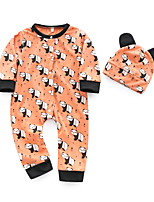 cheap -Baby Unisex Daily Print One-Pieces,Cotton Spring Cute Long Sleeve Camel
