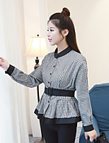 cheap -Women's Casual/Daily Street chic Shirt,Check Stand Long Sleeves Cotton