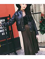economico -Giacca di jeans Da donna Quotidiano Vintage Inverno,Tinta unita Rotonda Cotone Acrilico Standard Maniche corte A pieghe