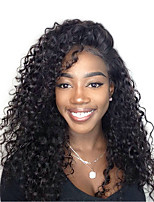 cheap -Human Hair Lace Front Wig Wig Peruvian Hair Kinky Curly / Deep Wave With Baby Hair 120% Density Natural Hairline Women's Short / Medium Length / Long Human Hair Lace Wig