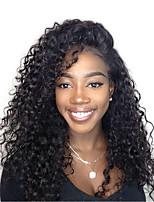 economico -Cappelli veri Lace frontale Parrucca Peruviano Kinky Curly / Molto ondulata Parrucca Con ciuffetti 120% Attaccatura dei capelli naturale Per donna Corto / Medio / Lungo Parrucche di capelli umani con