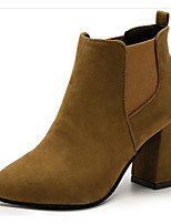 cheap -Women's Shoes Nubuck leather Winter Fall Comfort Bootie Boots Chunky Heel Booties/Ankle Boots for Casual Camel Black