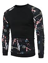 preiswerte -Herren Pullover Extraklein Alltag Retro Freizeit Druck Rundhalsausschnitt Fleece-Futter Mikro-elastisch Polyester Langärmelige Winter