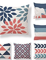 cheap -6 pcs Textile Cotton/Linen Pillow Cover, Striped Geometric Leaf