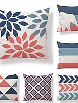 cheap -6 pcs Textile Cotton/Linen Pillow Cover,Striped Geometric Leaves