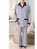 abordables -Costumes Pyjamas Homme Moyen Coton Bleu Gris Kaki