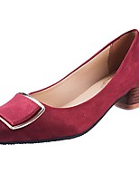 cheap -Women's Shoes PU Fall Comfort Heels Flat Pointed Toe for Casual Red Brown Black