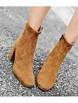 cheap -Women's Shoes Nubuck leather Winter Fall Comfort Bootie Boots Chunky Heel for Casual Black Brown