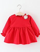 cheap -Baby Girl's Birthday Daily Solid Floral Dress, Cotton Cute Long Sleeves Red Blushing Pink Yellow
