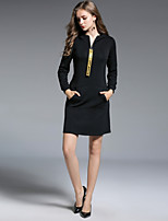 cheap -Women's Daily Going out Street chic Shift Above Knee Dress, Solid V Neck Long Sleeves