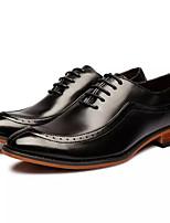 baratos -Homens sapatos Pele Primavera Outono Conforto Oxfords para Casual Preto Marron