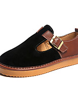 cheap -Women's Shoes PU Winter Fur Lining Comfort Sneakers Flat Heel Round Toe for Casual Outdoor Khaki Blue Black