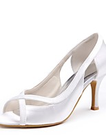 cheap -Women's Shoes Silk Spring Summer Basic Pump Wedding Shoes Low Heel Peep Toe Hollow-out for Wedding Party & Evening White