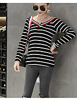 cheap -Women's Daily Casual T-shirt,Striped V Neck Long Sleeves Cotton Others