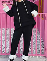 cheap -Women's Daily Casual Winter Fall Hoodie Pant Suits,Solid Hooded Long Sleeve Sequins Cotton Micro-elastic