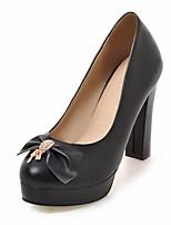 preiswerte -Damen Schuhe Kunstleder Frühling Herbst Komfort Neuheit High Heels Blockabsatz Runde Zehe Schleife für Normal Kleid Weiß Schwarz Beige