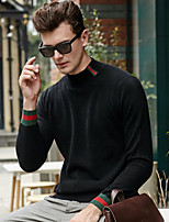 Недорогие -Муж. С принтом На каждый день Пуловер, Повседневные Длинный рукав Вырез под горло Полиэстер Все сезоны