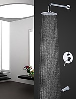 cheap -Contemporary Wall Mounted Rain Shower Handshower Included Chrome , Shower Faucet