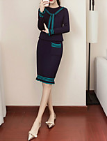 cheap -Women's Daily Casual Fall Set Skirt Suits,Solid Round Neck Long Sleeve Polyester