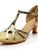 cheap -Women's Modern Sparkling Glitter Heel Indoor Customized Heel Gold Silver Customizable
