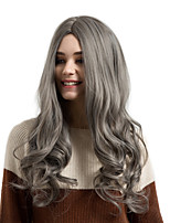 cheap -Synthetic Hair Wigs Deep Wave Middle Part Natural Wigs Grey