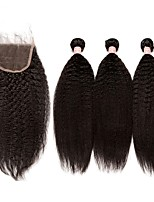 cheap -Brazilian kinky straight Human Hair Weaves 4pcs 0.3