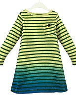 cheap -Girl's Daily Color Block Stripes/Ripples Dress,Cotton Spring Fall Long Sleeves Casual Princess Yellow