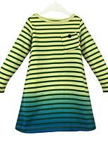 abordables -Robe Fille de Quotidien Couleur Pleine Rayures Coton Printemps Automne Manches Longues Décontracté Princesse Jaune