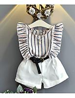 Недорогие -Девочки На каждый день Повседневные Однотонный Короткие рукава Хлопок / Бамбуковая ткань Набор одежды Розовый