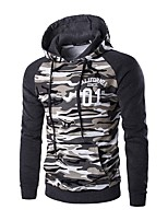 cheap -Men's Daily Casual Hoodie Camouflage Hooded Micro-elastic Polyester Long Sleeve Winter Autumn/Fall