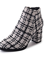 cheap -Women's Shoes Fabric Winter Comfort Boots Chunky Heel Round Toe for Casual White Black