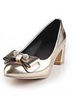 preiswerte -Damen Schuhe Kunstleder Frühling Herbst Komfort Neuheit High Heels Blockabsatz Runde Zehe Schleife für Normal Kleid Gold Silber Rosa
