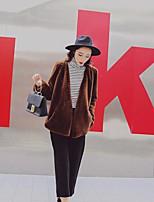 Недорогие -Для женщин На каждый день Праздники Зима Пальто с мехом V-образный вырез,Простой Винтаж Однотонный Обычная Длинный рукав,Другое