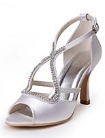 preiswerte -Damen Schuhe Seide Frühling Sommer Pumps Hochzeit Schuhe Stöckelabsatz Peep Toe Schnalle für Hochzeit Party & Festivität Weiß
