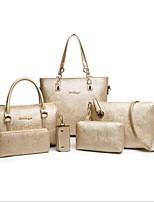 cheap -Women Bags PU Bag Set 6 Pieces Purse Set Zipper for Casual Office & Career All Season Fuchsia Black White Gold Blue