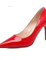 preiswerte -Damen Schuhe PU Frühling Herbst Komfort High Heels Stöckelabsatz für Normal Schwarz Silber Fuchsia Rot Hautfarben