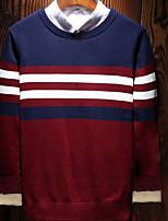 preiswerte -Herren Standard Pullover-Alltag Freizeit Einfarbig Rundhalsausschnitt Langarm Japanische Baumwolle Winter Herbst Undurchsichtig