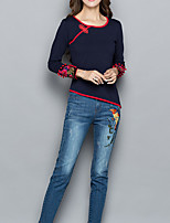 cheap -Women's Going out Street chic Fall Shirt,Print Round Neck Long Sleeve Cotton Opaque