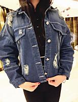 economico -Giacca di jeans Da donna Casual Semplice Inverno Autunno,Lolita Colletto Altro Corto Maniche lunghe