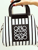 cheap -Women Bags PU Polyester Tote Appliques for Casual All Season Black White