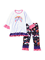 cheap -Girls' Daily Animal Print Rainbow Clothing Set,Cotton Spring Long Sleeve Cute Casual White