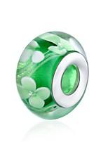 Недорогие -Ювелирные изделия DIY 1 штук Бусины Зеленый Шарообразные Стекло Серебристый Шарик 1.4 см DIY Браслеты Ожерелье