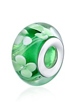 cheap -DIY Jewelry 1 pcs Beads Green Ball Glass Silver Bead 1.4 cm DIY Bracelet Necklace