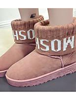 Недорогие -Для женщин Обувь Нубук Зима Осень Удобная обувь Зимние сапоги Ботинки Плоские Ботинки для Повседневные Черный Серый Розовый