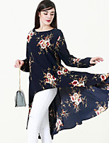 cheap -Women's Daily Casual T-shirt,Floral Round Neck Long Sleeve Polyester Medium