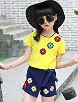 cheap -Girls' Daily Solid Embroidered Clothing Set,Cotton Summer ½ Length Sleeve Casual Yellow Red