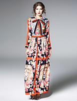 economico -Fodero Chiffon Vestito Da donna-Feste Per uscire Vintage Boho Fantasia floreale Monocolore Colletto alla coreana Maxi Maniche lunghe