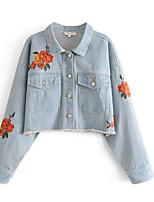 Недорогие -Для женщин Повседневные Осень Джинсовая куртка Рубашечный воротник,На каждый день С принтом Обычная Длинные рукава,Хлопок,Вышивка