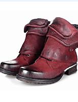Недорогие -Для женщин Обувь Полиуретан Зима Осень Удобная обувь Оригинальная обувь Модная обувь Ботинки На низком каблуке Заостренный носок Круглый
